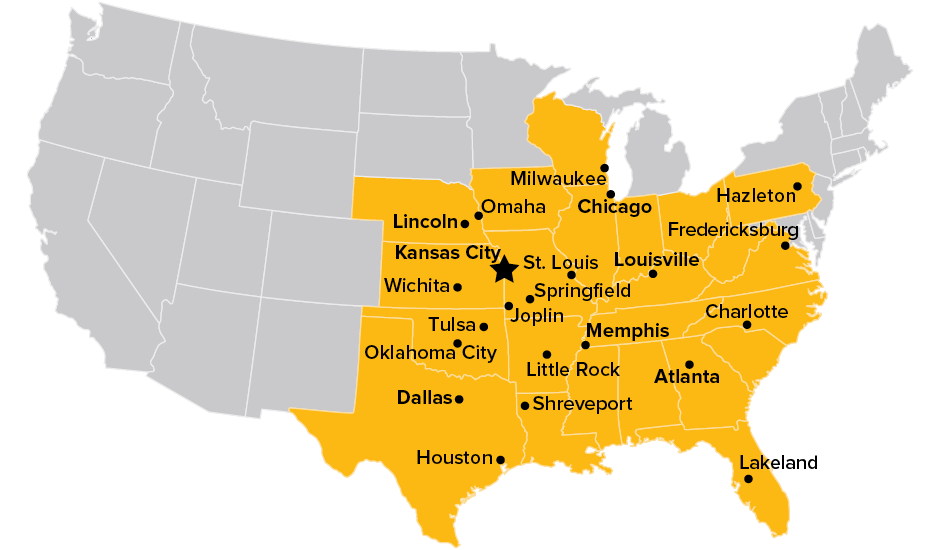 Midwest Express service area map